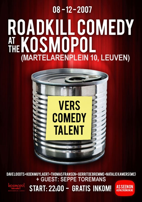 Flyer Comedy Leuven 8 dec 2007