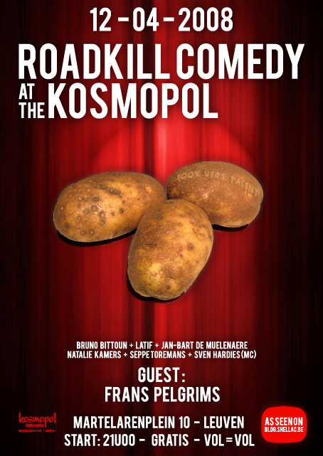 Roadkill Comedy op 12 april in de Kosmopol
