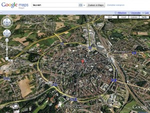 Leuven op Google Earth