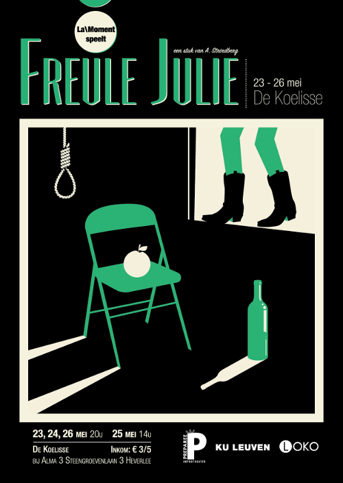 flyer Treurspel Freule Julie in de Koelisse in Leuven