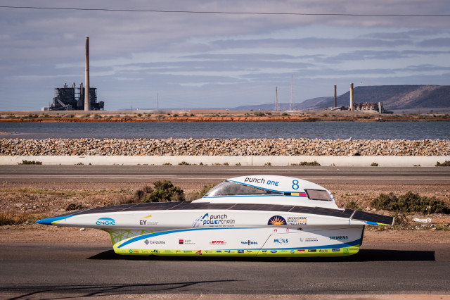 The Belgian Punch Powertrain Solar Team car competes during the fifth day of the 2015 World Solar Challenge in Port Augusta, Australia, on Thursday, Oct. 22, 2015. The Belgian team finished fifth out of 45 teams from 25 different countries in a 3,000 km race for solar cars from Darwin to Adelaide.  PHOTO - PUNCH POWERTRAIN SOLAR TEAM / GEERT VANDEN WIJNGAERT