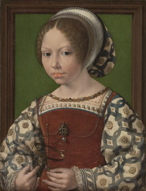 Jan-Gossaert_-Portret-van-een-meisje-met-een-armillarium-_prinses-Dorothea-van-Denemarken__-ca.-1530.-Londen_-National-Gallery