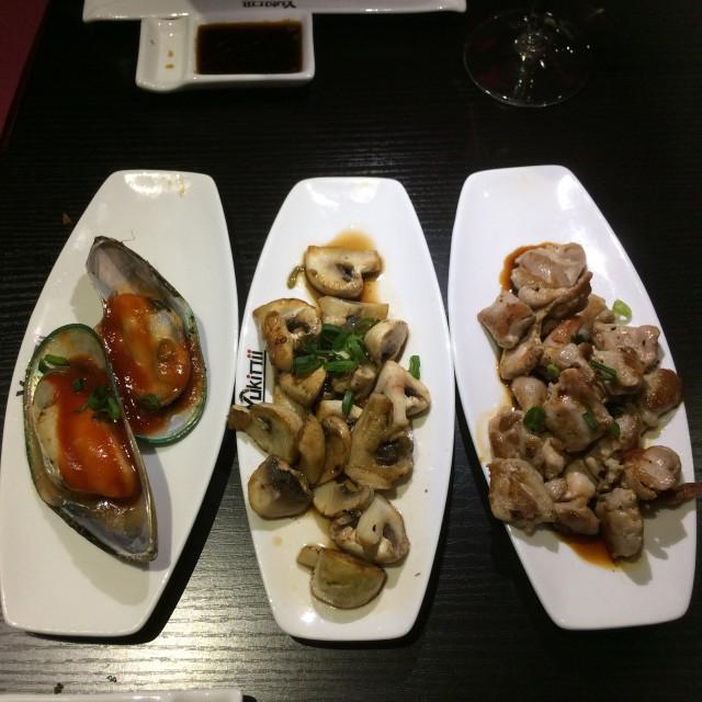 mosselen, paddenstoelen en kip