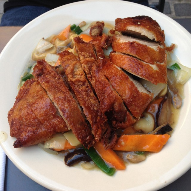 deep fried duck with mushrooms
